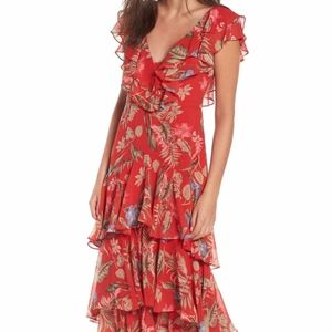 Chelsea Tiered Ruffle Maxi Dress WAYF Red Tropical